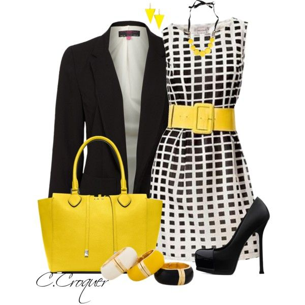 Black, White & Yellow, created by ccroquer on Polyvore
