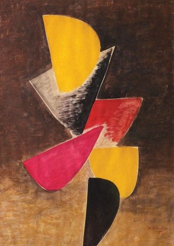 Wings [1992] CONSTANTIN BLENDEA 1929, Peştişani, Gorj - 2012, Bucharest tempera on paper, 76 × 55 cm, signed and dated bottom right, in red, C. Blendea, (19)92 Valoare estimativă: € 700 - 1.000 Prețul de pornire se va situa sub valoarea minimă a evaluării  Conservation status: for further technical details, do not hesitate to contact loredana.codau@artmark.ro