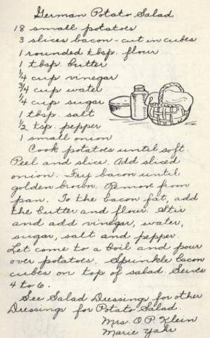 German Potato Salad - Vintage Recipe from a Lutheran Church Cookbook …