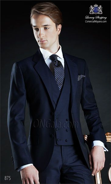 Blue wedding suit with maching trouser and double breasted waistcoat in pure mohair wool fabric.