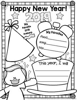 free new year 2019 posters teaching holidays new years activities kindergarten first grade. Black Bedroom Furniture Sets. Home Design Ideas