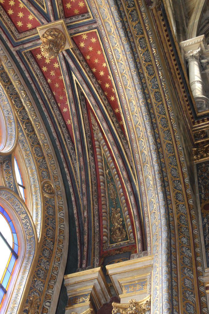 Spectacular painting inside Eglise St-Eustache church Right Bank Les Halles, Paris