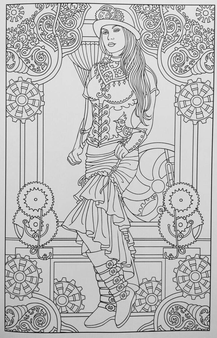adult coloring pages colouring pages coloring sheets coloring books steampunk fashion colour book zentangle drawings risks mandalas - Ap Coloring Book