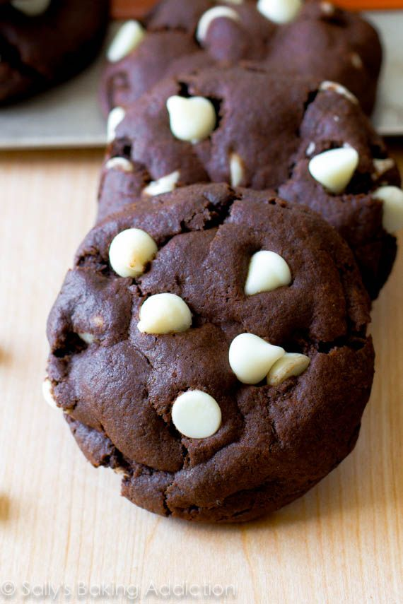 Super soft, thick, and chewy chocolate cookies made from scratch. Filled with white chocolate chips!