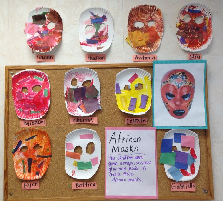 All around the world: Africa. Preschool children used scraps of paper to create an African mask.