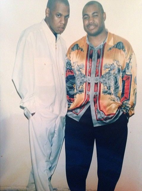 Roc-A-Fella Records co-founders Jay-Z and Kareem 'Biggs' Burke in 1995. Biggs is currently three years deep into a five-year sentence after pleading guilty to conspiring to distribute more than 100 kilos of marijuana, BUT I'm hearing on the streets that he went free today. Confirmations anyone?