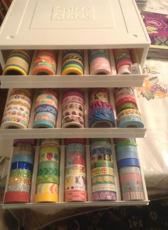 Total genius idea on how to store lots of washi tapes - Spice rack with drawers…