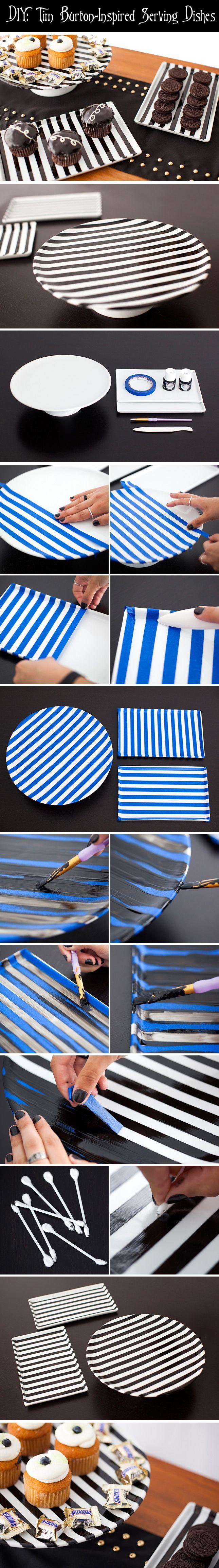 Very Burton-esque.  Important:  must use non-toxic porcelain paint, like Pebeo Porcelaine 150 paint. Halloween with Tim Burton ~~ Halloween Party Decorations & Ideas