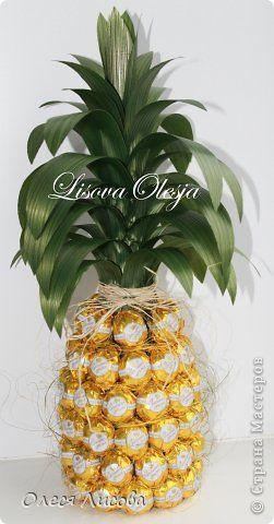 Девочки, всем здравствуйте! Как и обещала, выставляю свой МК по изготовлению ананаса из конфет ... фото 1