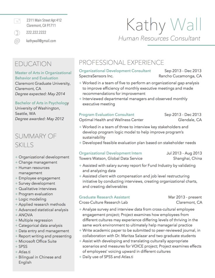 modern resume sample for human resources consultant