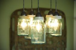 Reclaimed Lighting, Ball Jars: Ball Jars, Dining Rooms, Lights Fixtures, Canning Jars, Kitchens Lights, Mason Jars Lights, Lights Ideas, Mason Jars Chandeliers, Hanging Lamps
