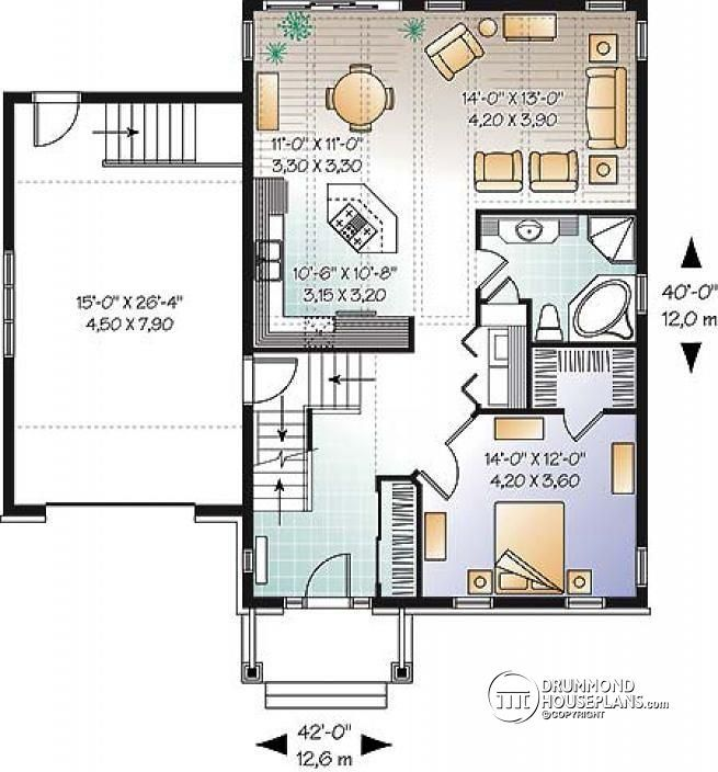 1st level Craftsman bungalow with open floor plan concept, bonus space (bedroom or else) and garage - Dahlia