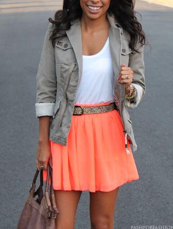 Spring fashion #orange #skirt