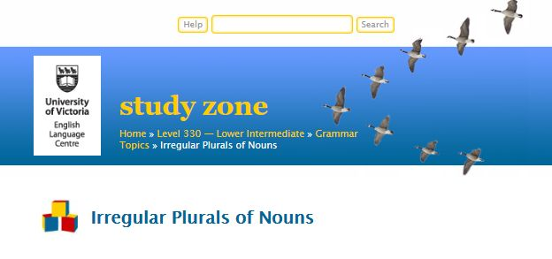 """This is an image from this resource on the Internet4Classrooms' """"Seventh Grade Language Skill Builders - Plurals"""" resource page:    Irregular Plurals of Nouns.    Lesson followed by interactive quizzes."""