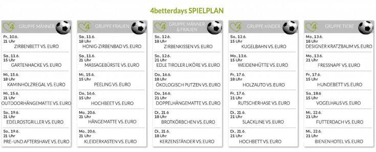 Der 4betterdays Spielplan für die EM-Zeit: Klick um das Bild zu vergrößern #euro2016 #euro16 #em #em2016 #fussball #österreich #uefa #sport #nachhaltigkeit #4beeterdays #produkte #zirbe #alpen #handmade #kreativ kreativität