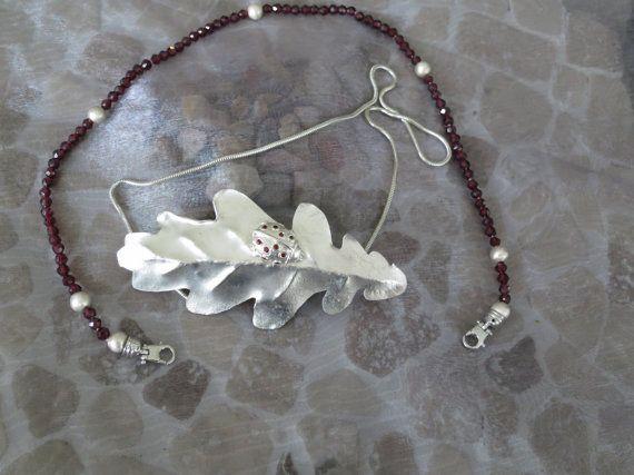 Sliver Oak Leaf with garnet studded by Artistic925Jewellery, $210.00
