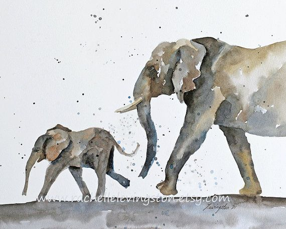 Etsy Transaction - Large Children's Wall Art Elephant artwork Elephant Baby PRINT/ Elephant Nursery Room Decor/ nursery art painting for boy gray 11x14