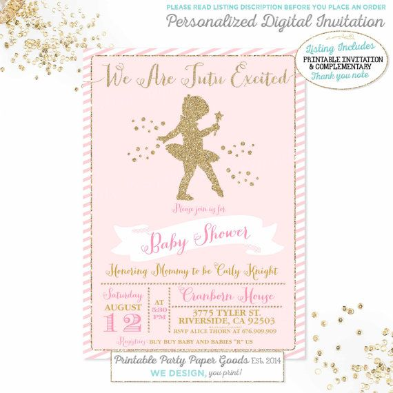 Ballerina Baby Shower Invitation Pink and by PixelPerfectionParty