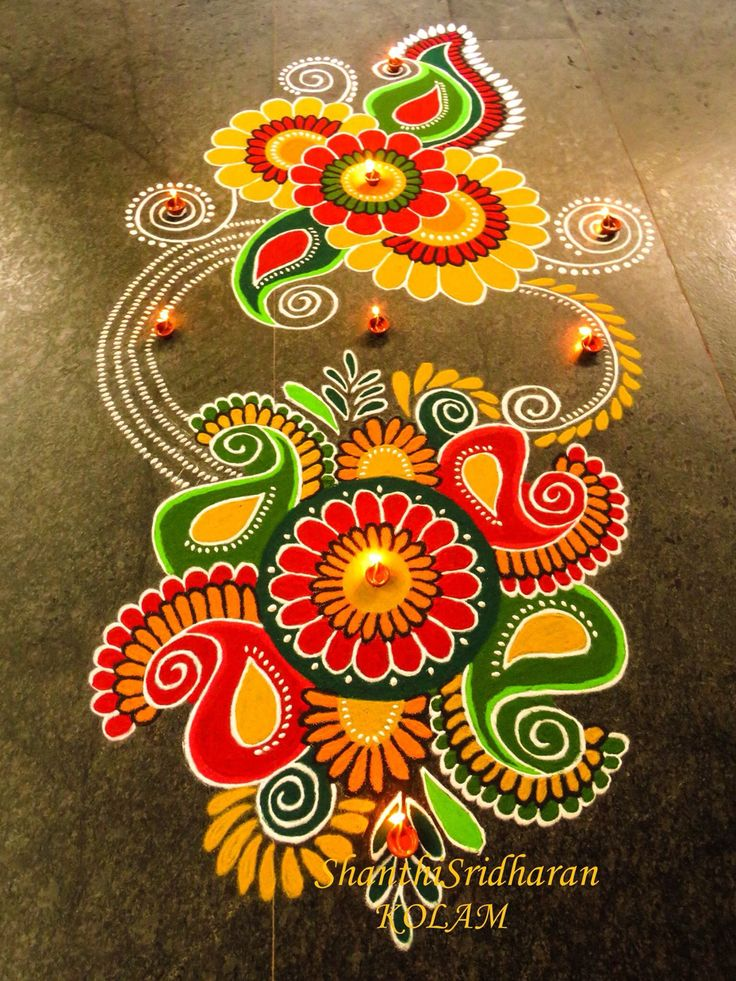 Kolam pailey redandyellow paisley designs pinterest for Floor rangoli design