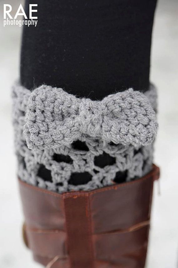 Crocheted boot cuff leg warmers with bow - KathleenRoseAmor