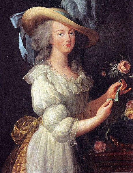 Marie-Antoinette à la rose, le premier portrait, avant que les canuts lyonnais ne s'insurgent que la Reine ne porte pas de soie française...