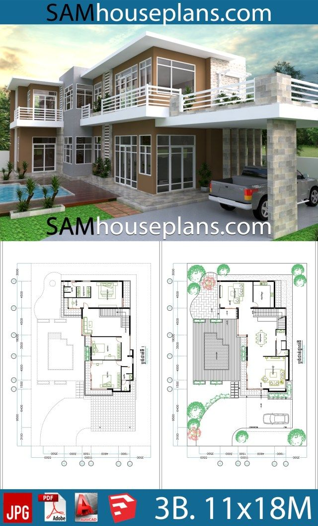 House Plans 11x18 With 3 Bedrooms In 2020 House Plans Simple