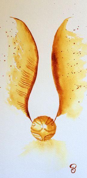 """Aquarelle moderne """"The Golden Snitch"""" représentant le Vif d'or dans Harry Potter, peinture originale"""