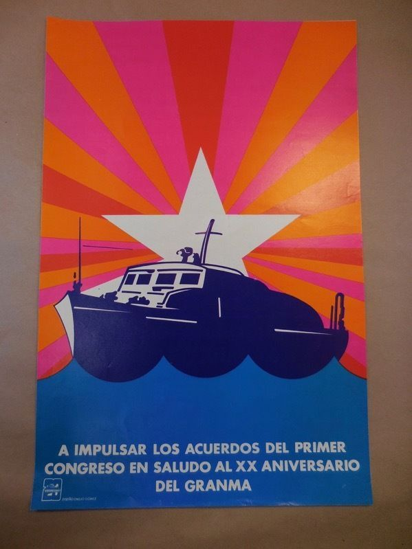OSPAAAL ORIGINAL POSTER  20th ANNIVERSARY 1976 'GRANMA' EMILIO GOMEZ - NICE