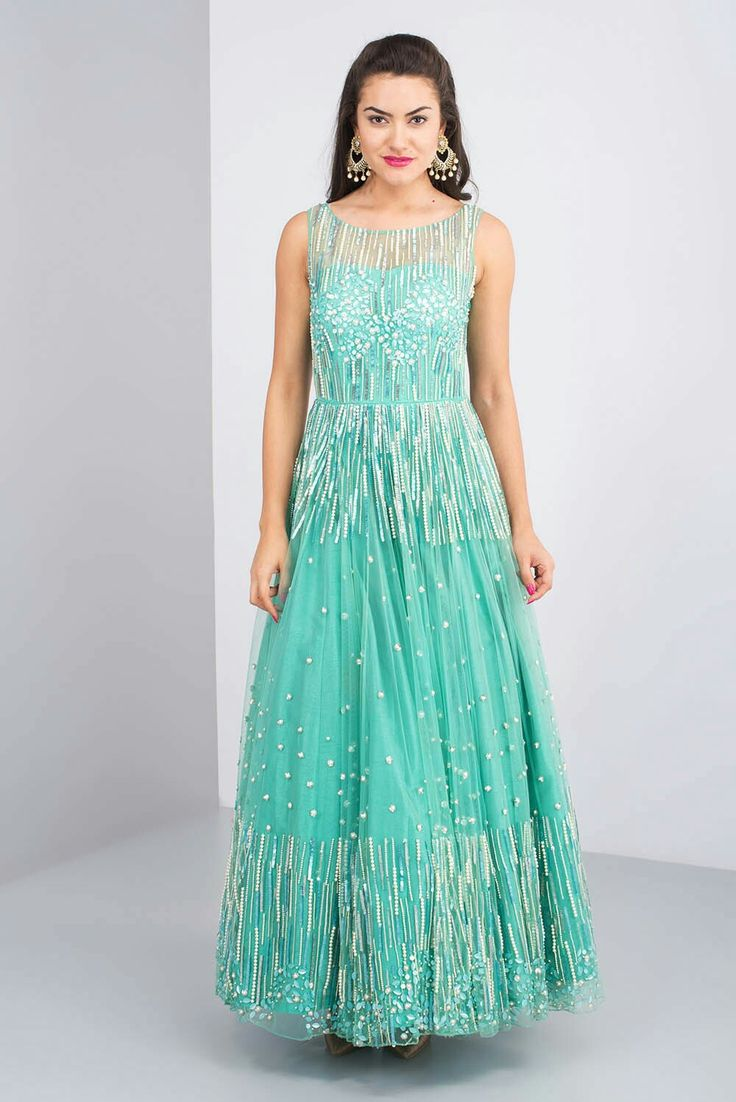 1600 AD BY NAISHA NAGPAL - sequin and pearl embroidered gown