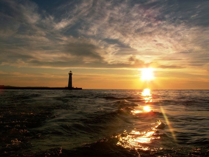 Sodus Point, NY : Sunset on 7-31-08 at the lighthouse point