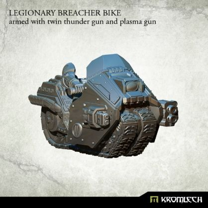 This set contains one high quality resin Legionary Breacher Bike armed with twin thunder gun and plasma gun. Designed to fit futuristic 28mm heroic scale heavy armoured troopers. As an additional parts you get biker legs and arms which you can combine with Legionaries torsos, heads, shoulder pads and backpacks sold separately
