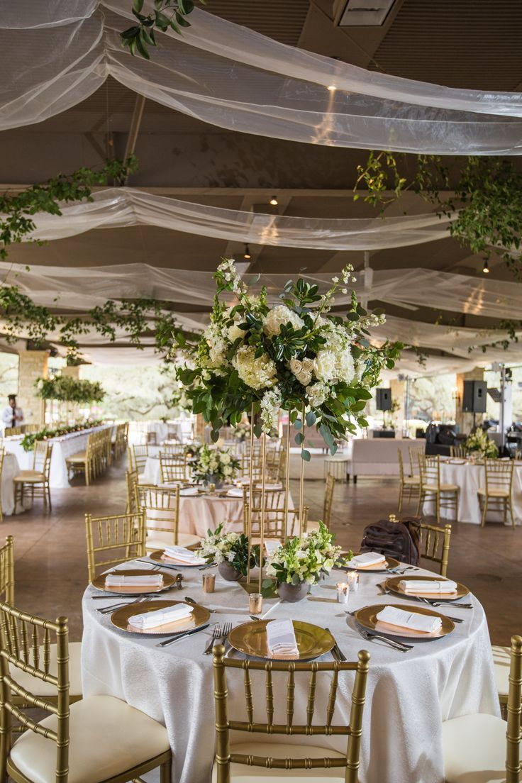 Wedding Reception Decor With Greenery And Gold Accents