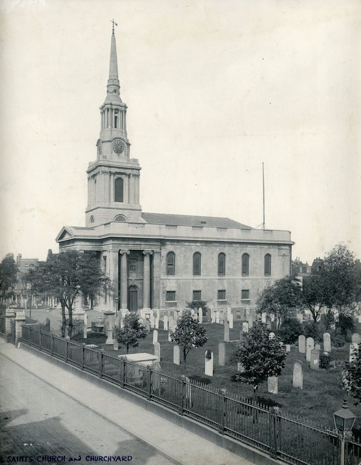 All Saint's Church and Churchyard in Poplar, photographed by William Whiffin in 1905. The churchyard was closed for burials in 1862.In 1893 the northern part was set out as a public recreation ground by the Metropolitan Public Gardens Association and the same arrangement was later extended to the whole churchyard. This facility was opened in 1906, its maintenance having been entrusted to the Borough Council.