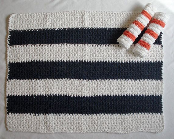 blue and white beach stripe bath mat... Nautical Bath Mats Perfect for a Seaside Summer from Bathroom Bliss by Rotator Rod