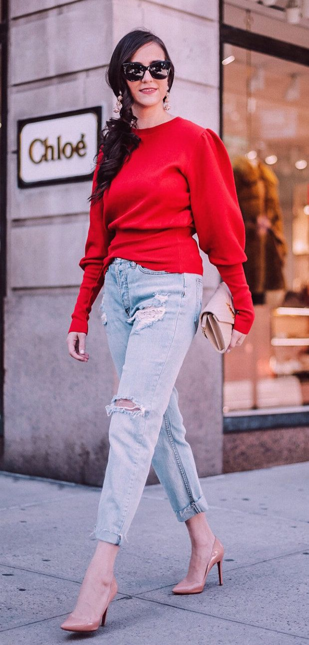 #fall #outfits women's red long-sleeve shirt and pair of blue tattered jeans. Click To Shop This Look.