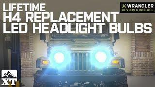 Jeep Wrangler Lifetime H4 Replacement LED Headlight Bulbs 1987 2006 YJ TJ