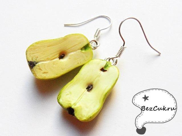 Kolczyki BezCukru, soczyste gruszki w BezCukru - biżuteria z charakterem na DaWanda.com, miniature food jewelry, FIMO, polymer clay,