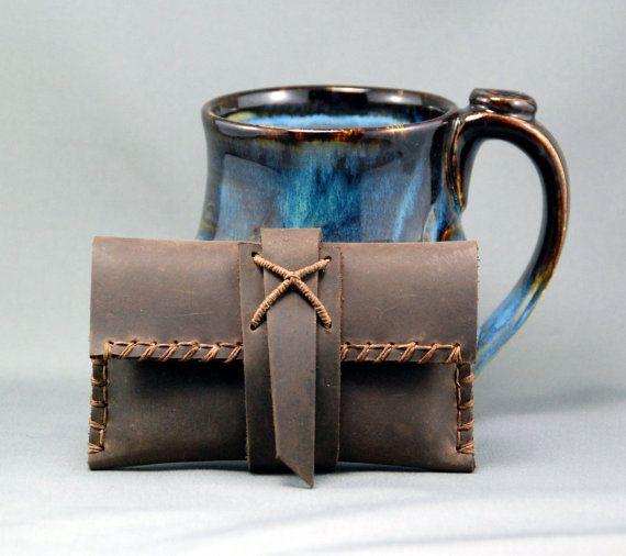 Rustikale Leder Karten-Etui oder iPhone Hülle