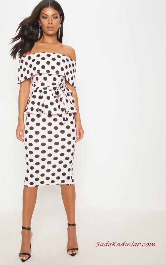 ffb3d80d7e1c5 Puantiyeli Elbise Kombinleri Beyaz Midi Straplez Düşük Kol Katlamalı Yaka  Siyah Stiletto Ayakkabı #moda #fashion #fashionblogger #outfits  #outfitoftheday ...