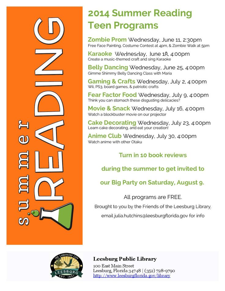 Teen programs at the Leesburg Public Library for Summer Reading 2014.