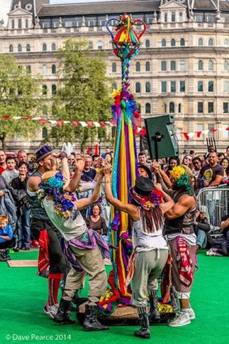 Morris dancers at the Feast of St George in Trafalgar Square. Photo: Dave Pearce