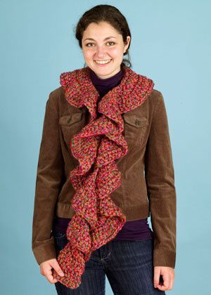 lion brand ruffle scarf patterns | Free Crochet Pattern 90423C Flirty Ruffle Scarf : Lion Brand Yarn ...