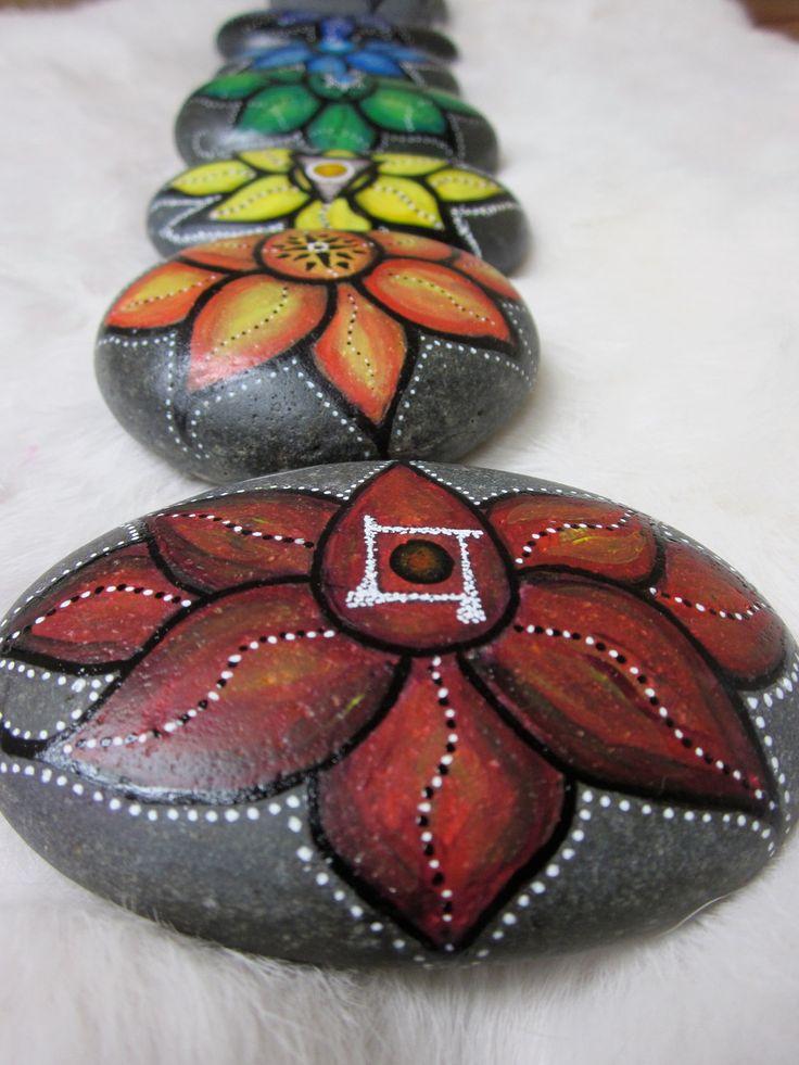 Lotus Stone - Chakra Series of 7- hand painted River Sea Rock -  Metaphysical Spiritual Yoga - Rainbow Meditation Stones. $275.00, via Etsy.