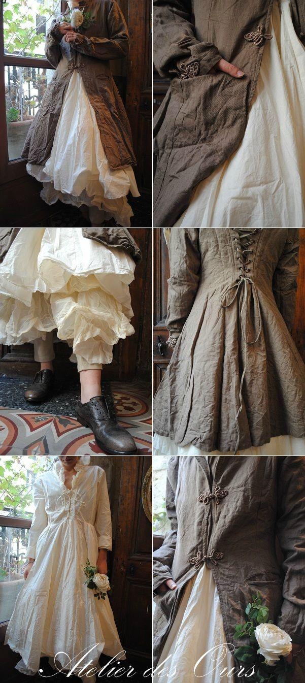 MLLE NOUGATINE : Redingote en lin nougat, robe écrue en popeline de coton, jupon en organdi écru, chaussures SHOTO - Atelier des Ours.