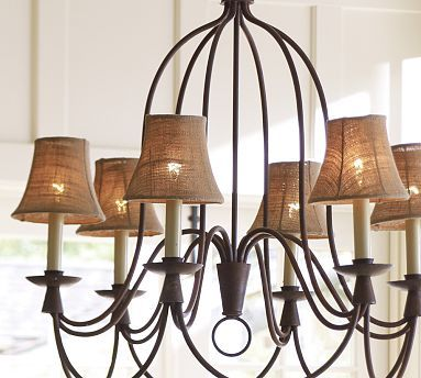 Mini Burlap Chandelier Shade, Set of 3 #potterybarn. This is Armonnk with burlap shades . LOVE