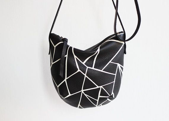 Leather Crossbody Bag - Screen Print Black and White