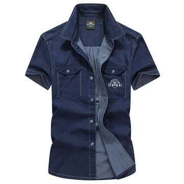 Plus Size Casual Dünne reine Baumwolle kurze Ärmel doppelte Brusttaschen Kleid Shirts für Männer