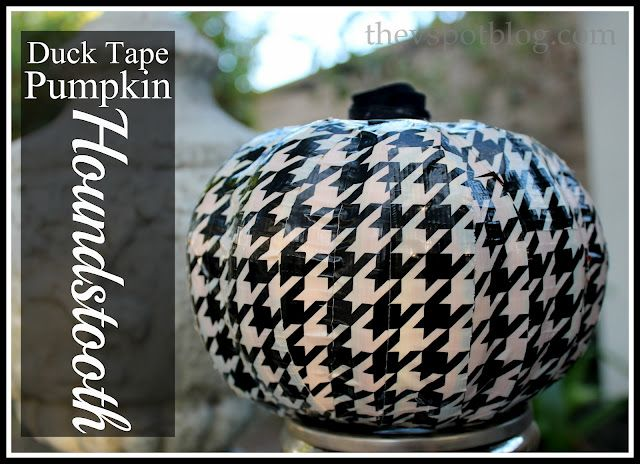 Make a Houndstooth Pumpkin from Duck Tape (dollar store craft)