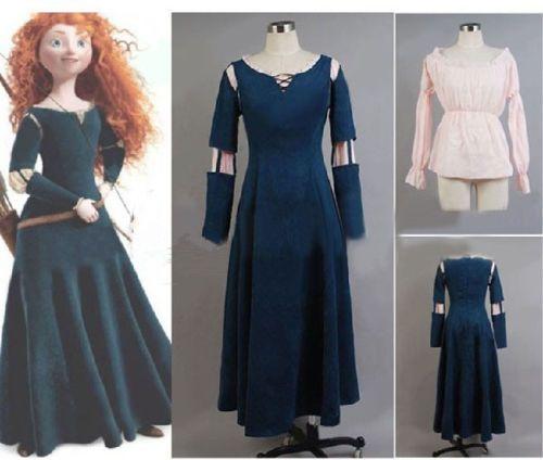 Princess Merida Brave Cosplay Costume Dress