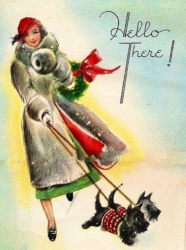 Christmas Scotties walk their mistress - vintage Christmas card